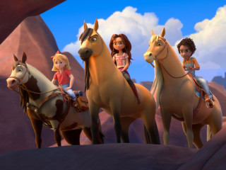 Girls and horses in Spirit Untamed