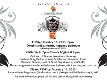 "Behind the Bench's ""Black & White Gala"" benefiting Girls Inc. of Greater Houston"
