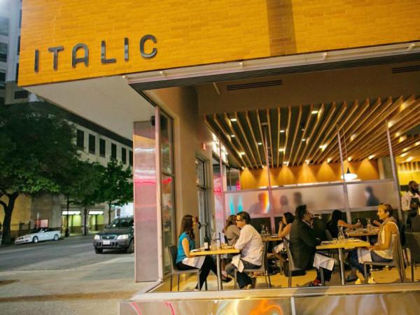 Italic Austin restaurant exterior Sixth Street