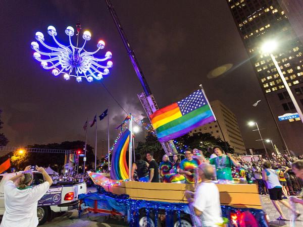 Houston Pride 2015 parade float chandelier