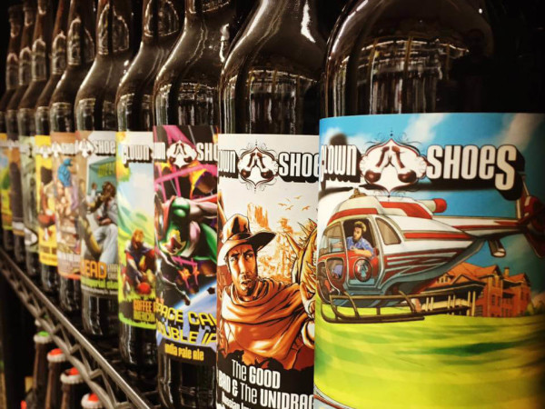 Bottled craft beer on a shelf