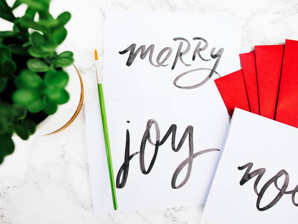 Brush-Lettering Holiday Cards at Paper + Craft Pantry 2016