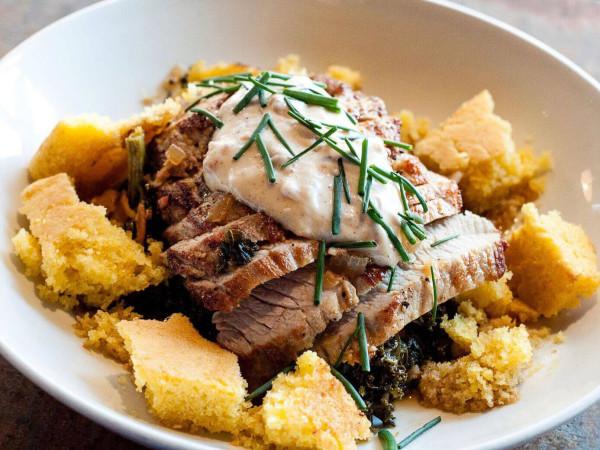 The General Public restaurant pork greens cornbread