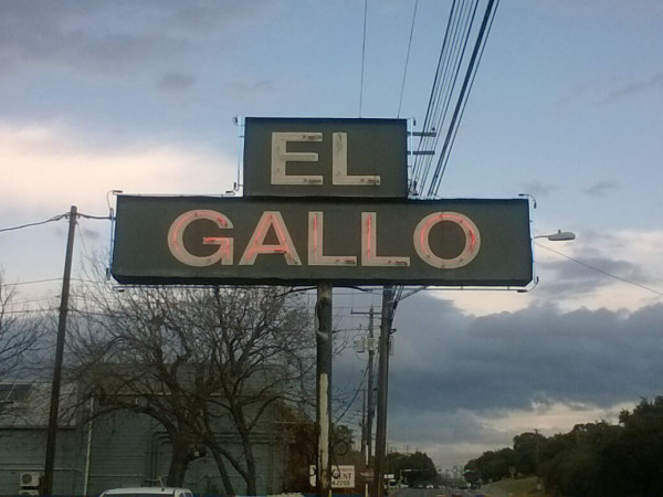 El Gallo Austin restaurant sign
