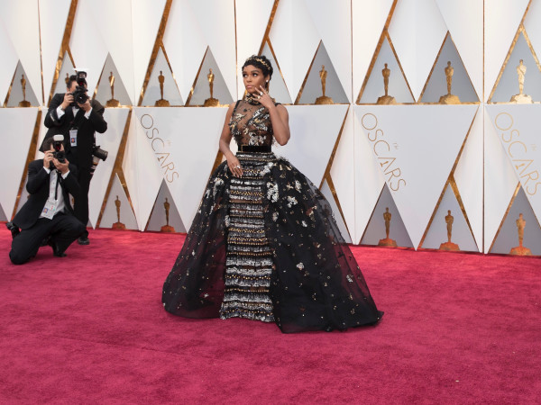 Janelle Monae in Elie Saab couture at Oscars 2017