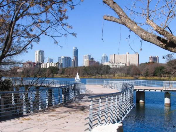 view of downtown Austin from Boardwalk Trail on Lady Bird Lake