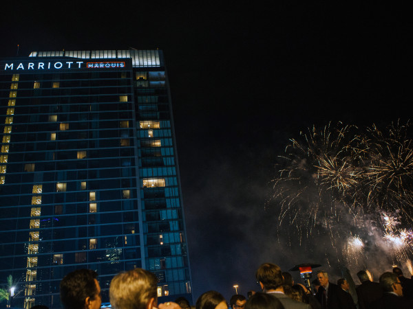 Houston, Marriott Marquis grand opening party, April 2017, fireworks
