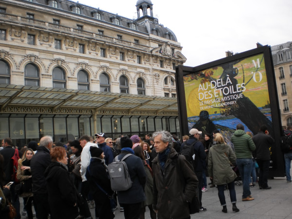 """Crowds in line for tickets to """"Beyond the Stars, the Mystical Landscape from Monet to Kandinsky"""" at Musee d'Orsay in Paris"""