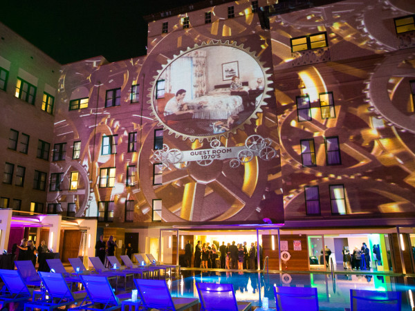 The Saint Anthony Hotel San Antonio Grand Reopening 2015 pool bar light projection