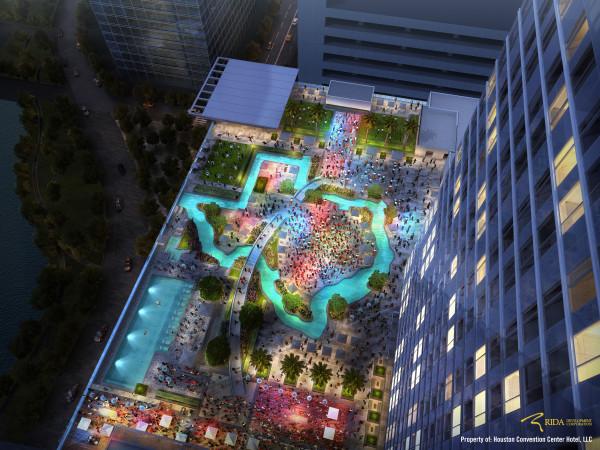 Houston, Marriott Marquis hotel downtown, September 2015, pool shaped like Texas