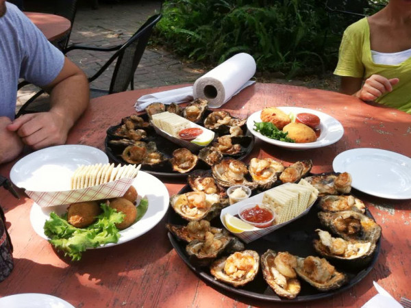 Gilhooley's Restaurant patio table with oysters