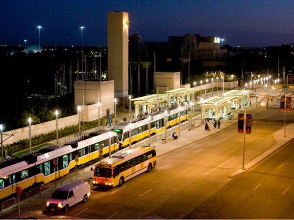 DART rail and buses at night, Fair Park