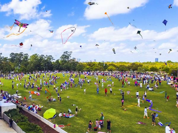 Weekend events kites flying Hermann Park
