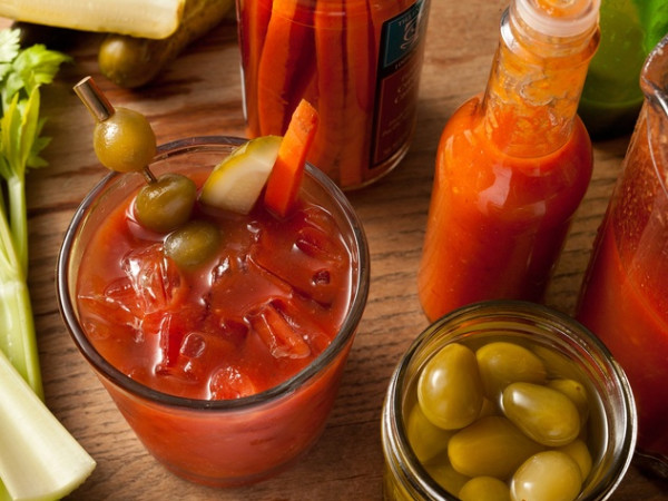 Bloody Mary olives celery hot sauce