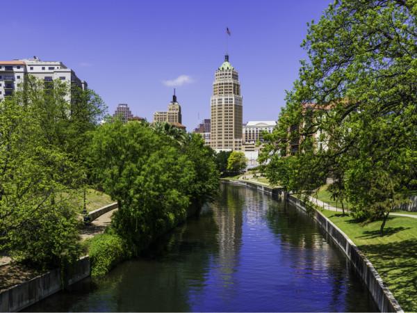 San Antonio River Walk skyline with park