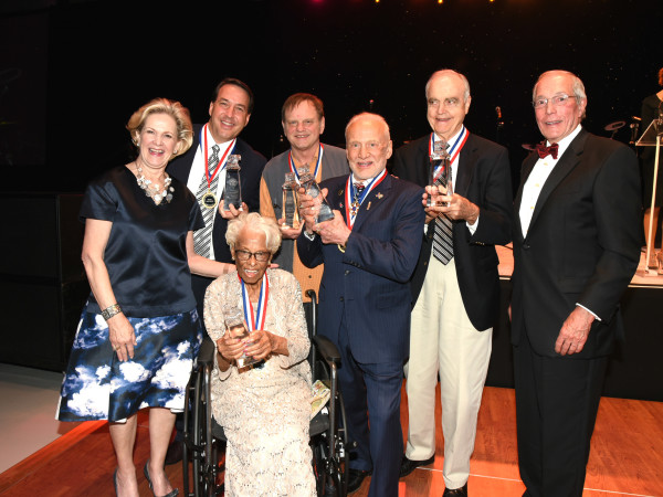 Flight Museum Gala Hall of Fame inductees Daisey White Azelia White Buzz Aldrin John Nau Jeff Lovell Mark Braniff Ira Gruber