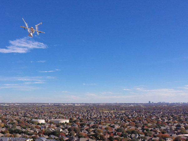 Johnny Steele Dog Park Allen Parkway Houston skyline aerial drone shot