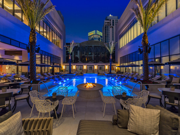Post Oak Hotel pool exterior night