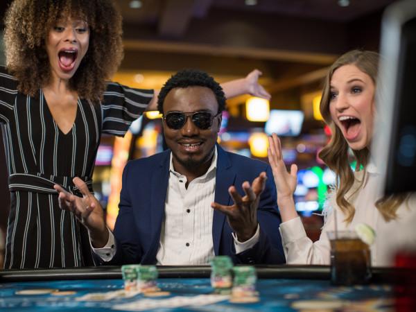 People winning at a casino