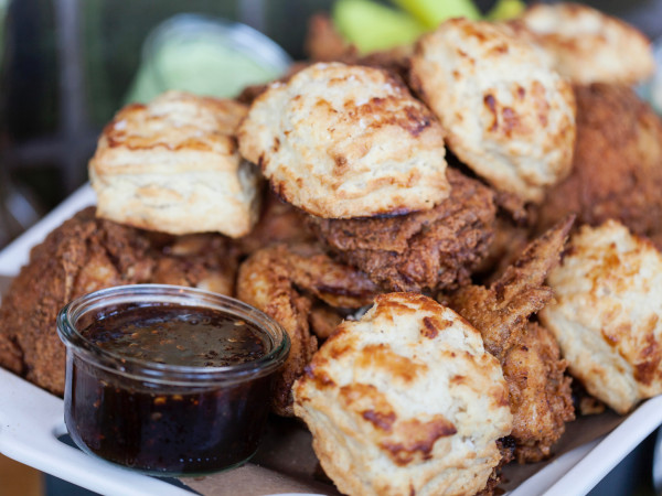 La Lucha fried chicken and biscuits
