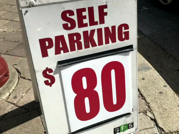 Houston Astros parking $80 sign downtown