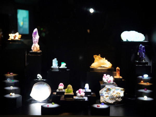 Birthstone exhibit, Lyda Hill Gems and Minerals Hall, Perot Museum