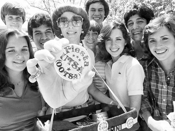 UTSA students got pins promoting the Fiesta UTSA event in the 1970s.
