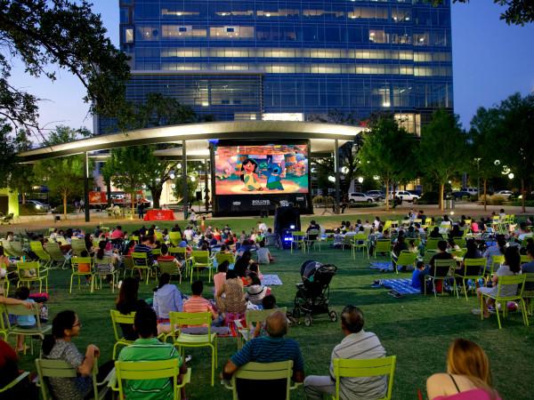 Levy Park movie screening Houston