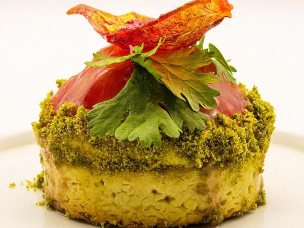 Koffeteria late summer tomato tart with pistachio pesto