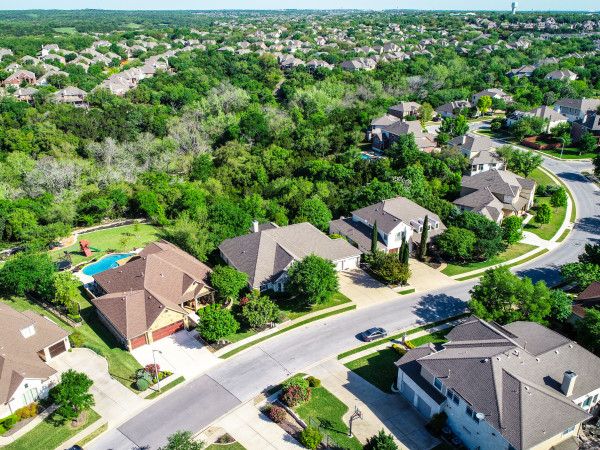 Cedar Park neighborhood aerial shot of Austin suburb
