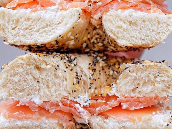NY Deli coffee shop salmon bagel