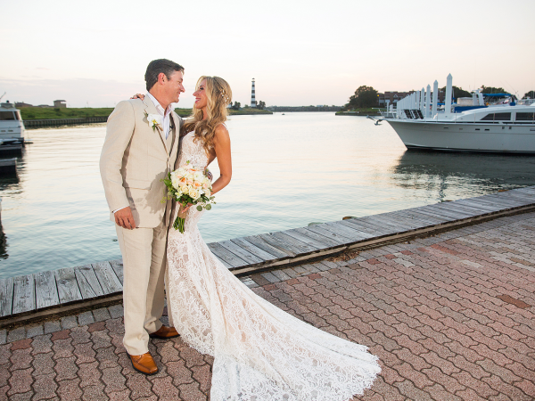 Bride and groom by Clear Lake