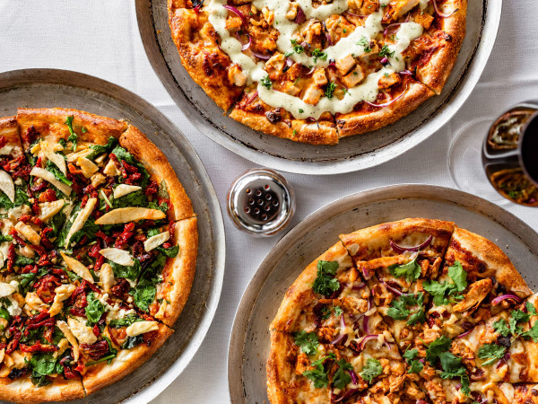 Union Kitchen Smokin' BBQ Pizza, Spinach and Goat Cheese with Chicken Pizza, Bacon Chicken Ranch Pizza