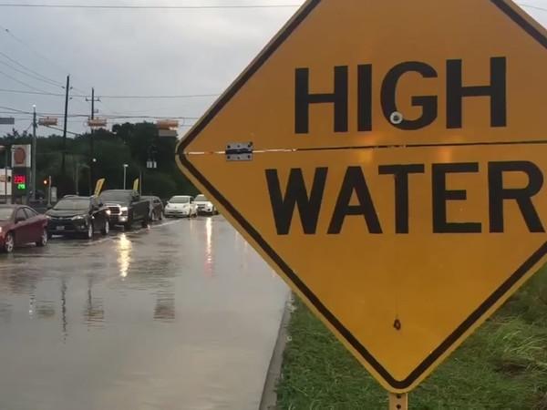 high water houston flood sign traffic