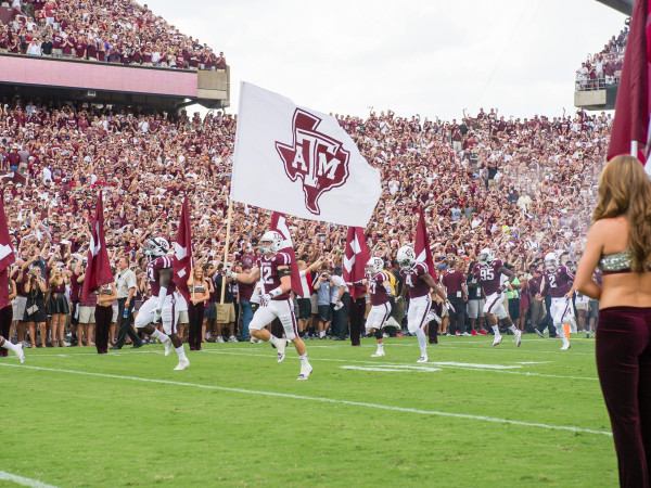 Texas A&M football game field team flag