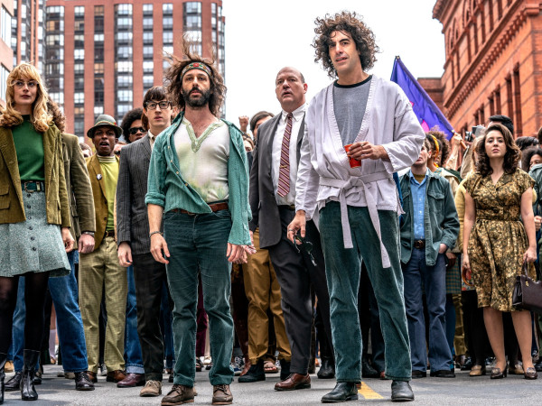 Jeremy Strong, John Carroll Lynch, and Sacha Baron Cohen in The Trial of the Chicago 7