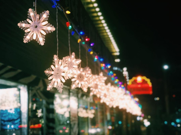 Holiday lights on South Congress