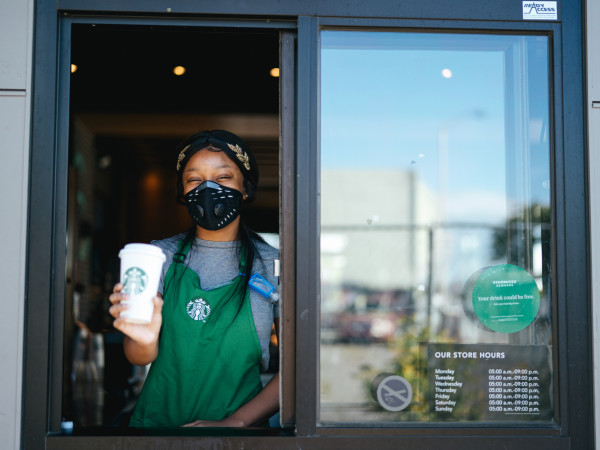 Starbucks drive-thru mask