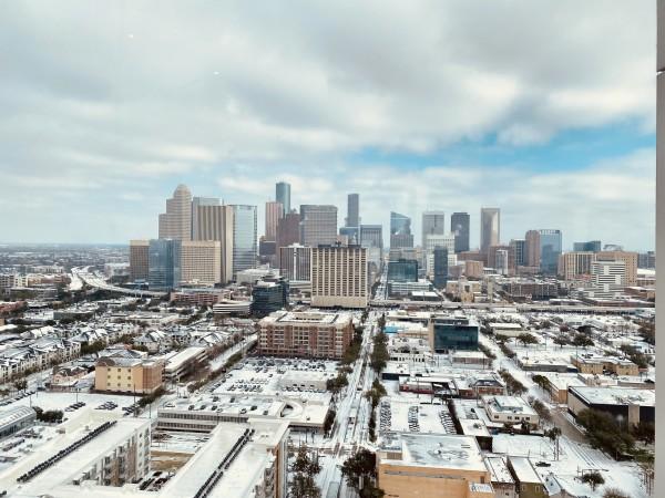 Houston Midtown skyline snow