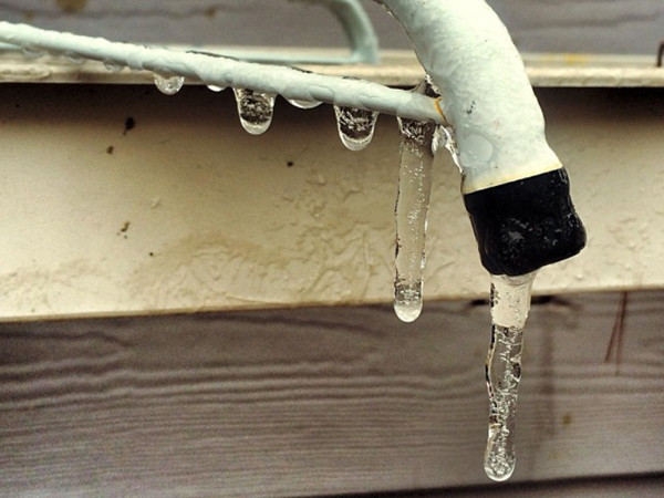 now in Houston January 2014 ice on pipe