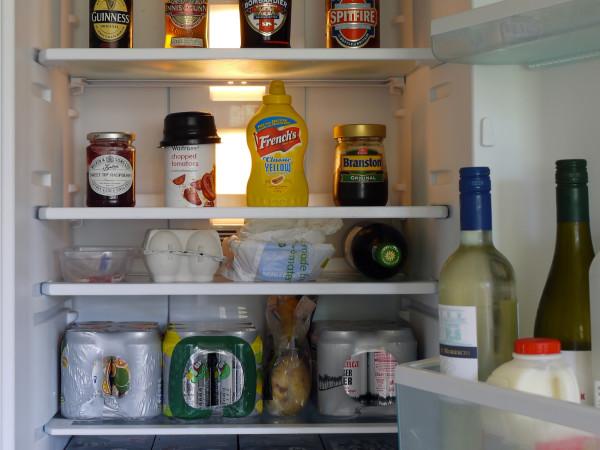 Refrigerator open beer fridge