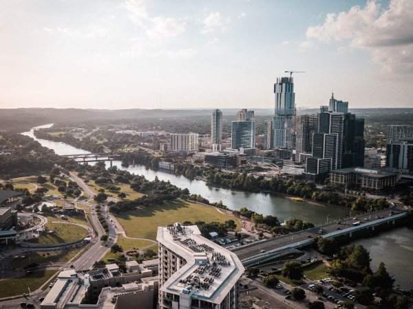 Austin downtown skyline aerial