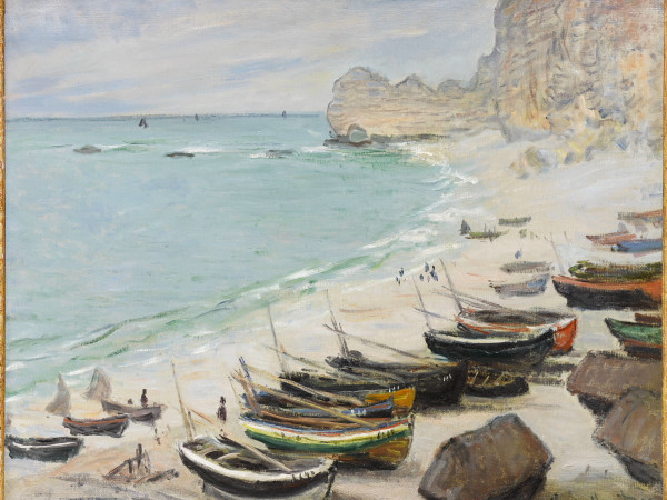 MFAH:Claude Monet, Boats on the Beach at Étretat