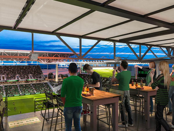 Q2 Stadium food area rendering Austin