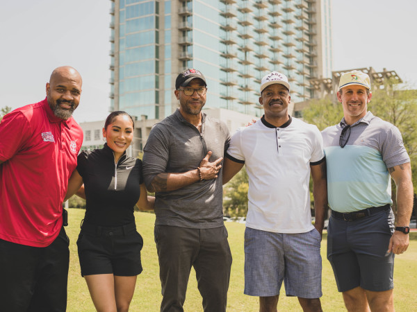 Lucille's 1913 golf tournament Hermann Park Moochie Norris, Maggie Noel, Chris Williams, Steve Francis and Owen Daniels