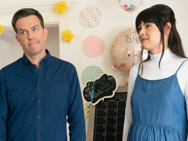 Ed Helms and Patti Harrison in Together Together