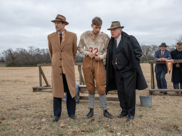 Luke Wilson, Jacob Lofland, and Martin Sheen in 12 Mighty Orphans