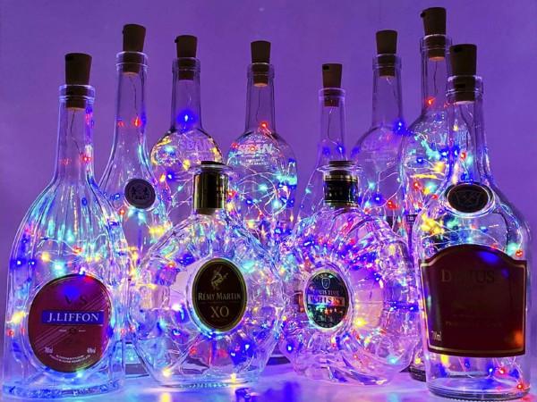 liquor bottles lit