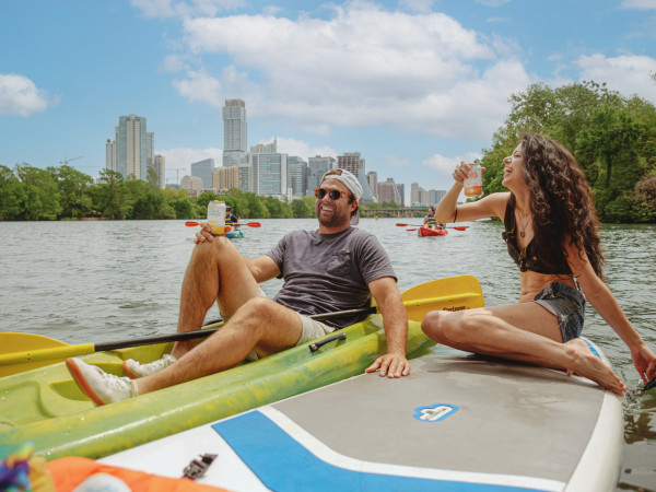 Paddleboarding with cocktails