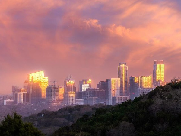 Austin skyline at sunset